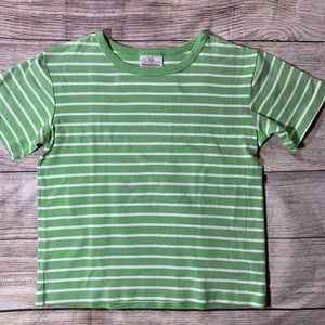 Hanna Andersson short sleeve green & white tee